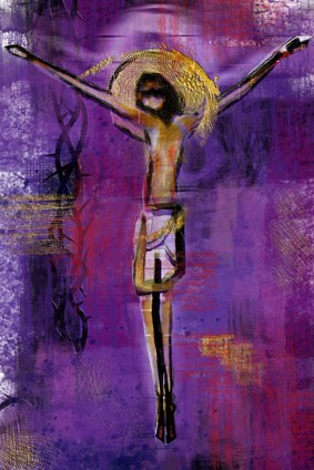 Jesus Christ on the cross - abstract artistic modern background